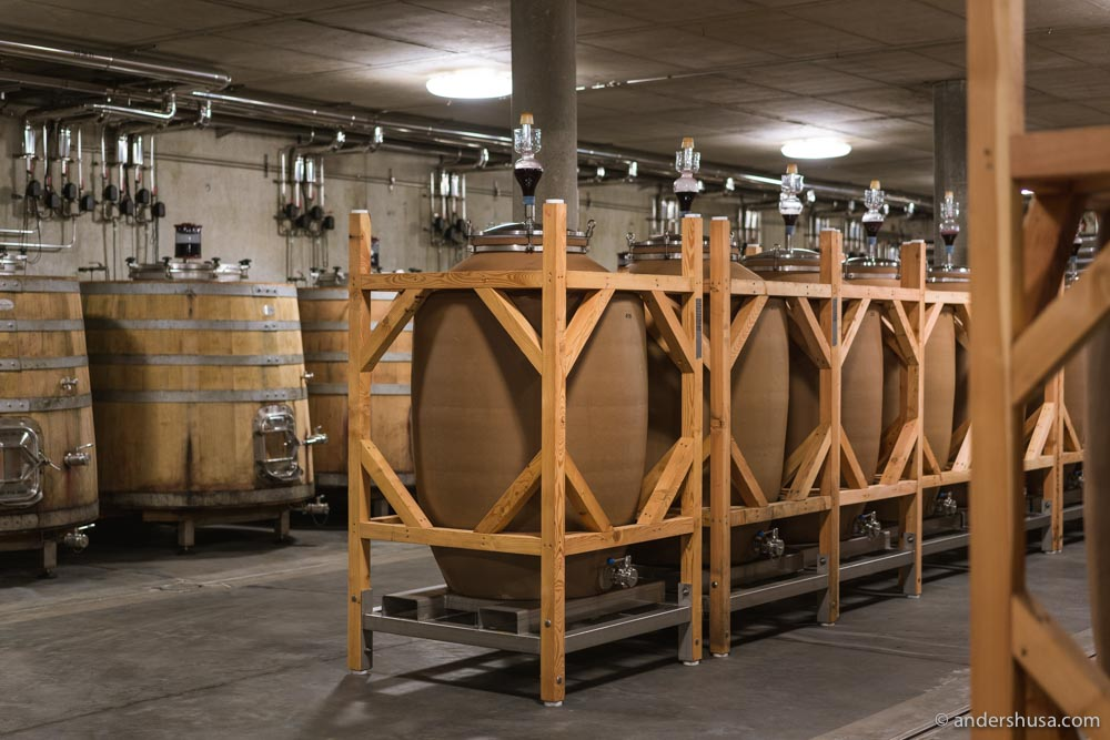 Heinrich's wines are aged in wooden casks and amphora (egg-shaped clay pots).
