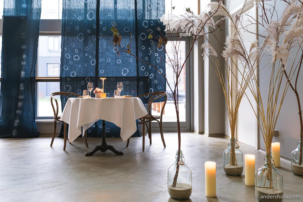 The Koan and Empirical teams have created a beautiful dining room in the middle of the distillery.