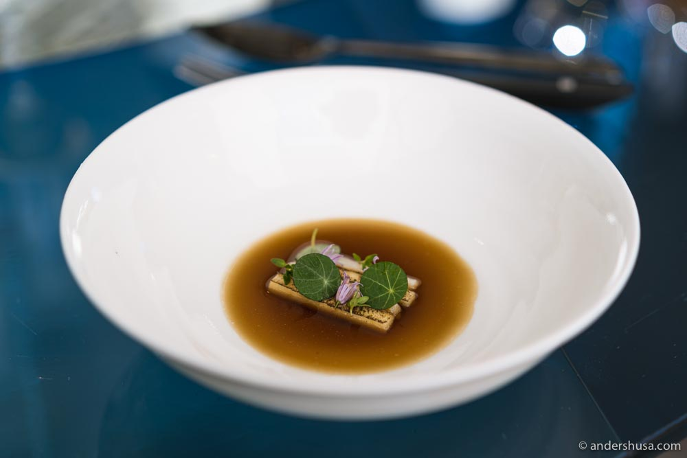 Eel, apple juice, onion bouillon, and nasturtium.