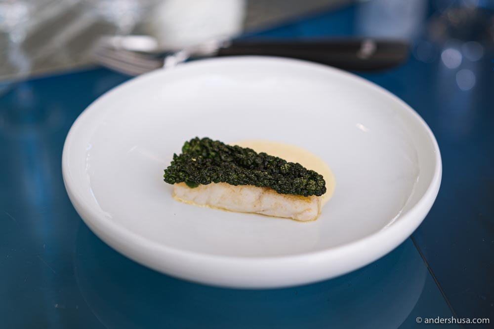 Turbot, crispy black cabbage, and a sauce of fermented white asparagus.