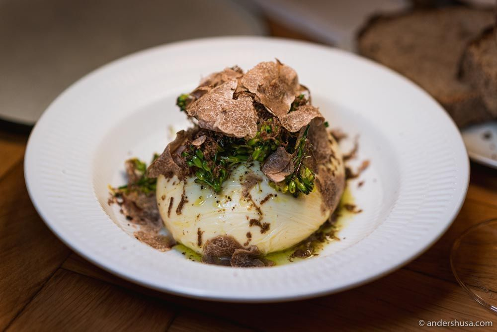 Bæst's handmade mozzarella topped with truffles.