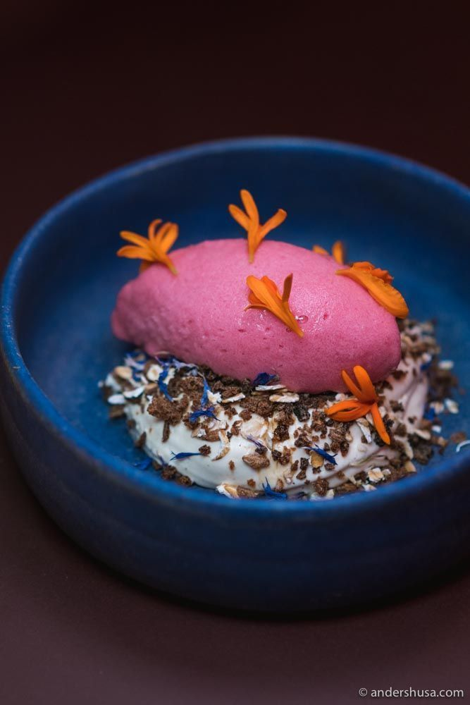 Cactus fruit sorbet, whipped creme fraiche, agave syrup, and rye.