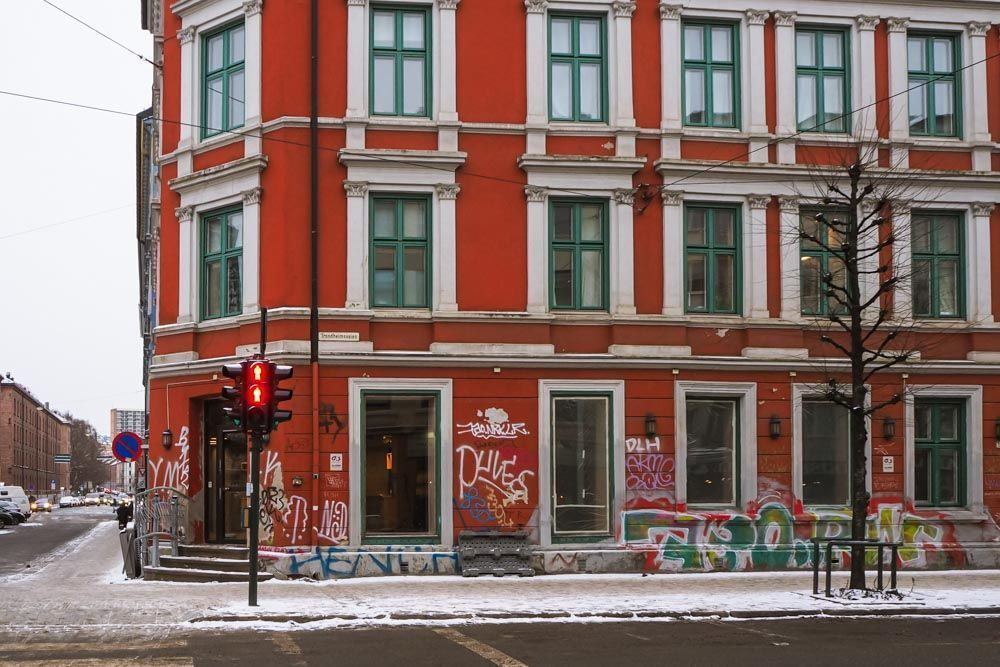 The facade of The Little Pickle in Oslo.