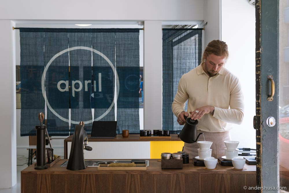 Patrik Rolf brewing a pour-over at April Coffee.