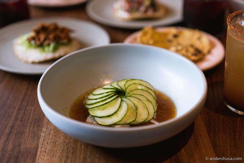 Ceviche rojo –cod, chiltepin chili, lime, avocado, oregano, and cucumber.