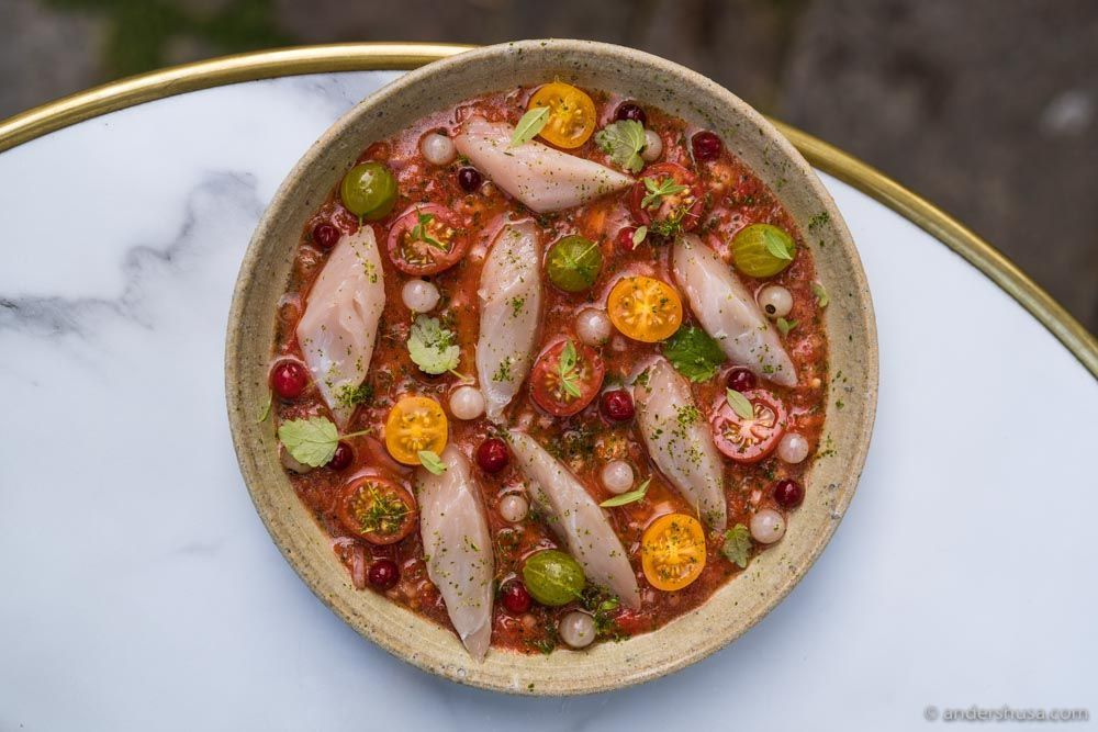 Mackerel, tomato sambal, and summer berries.