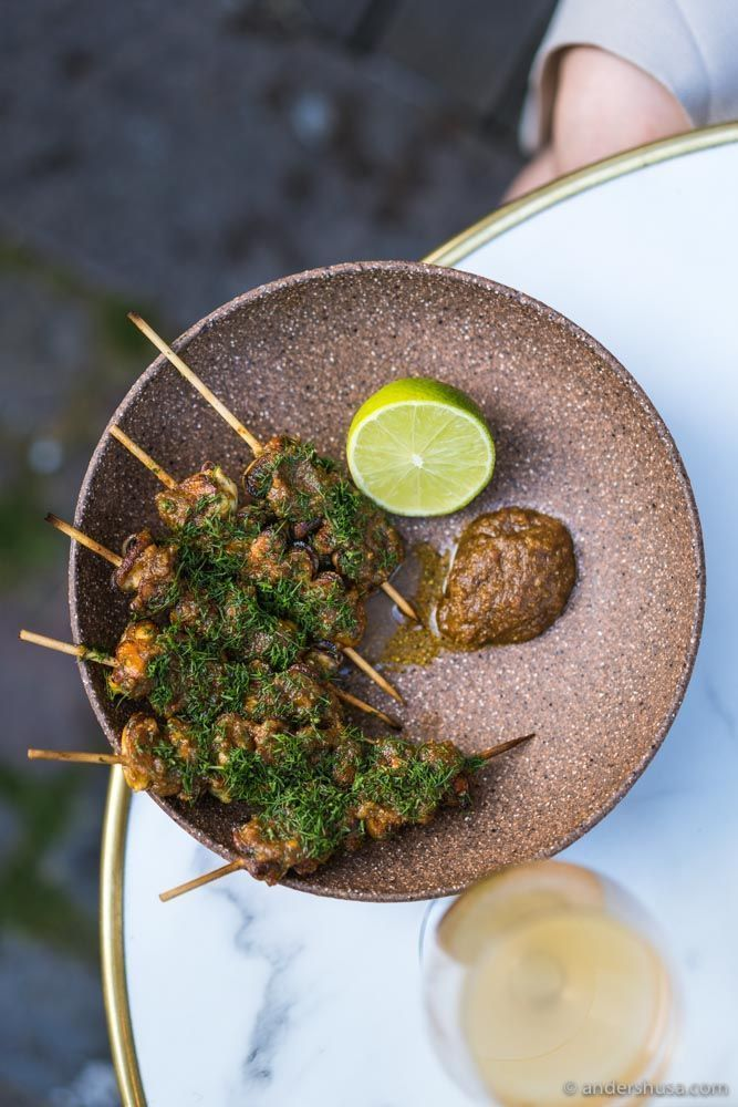 Delicious mussel skewers –we had to order a second serving!