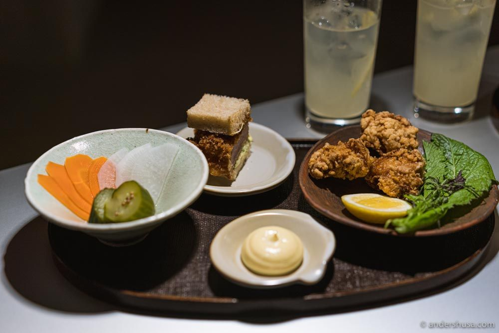 A selection of bits from the izakaya upstairs.