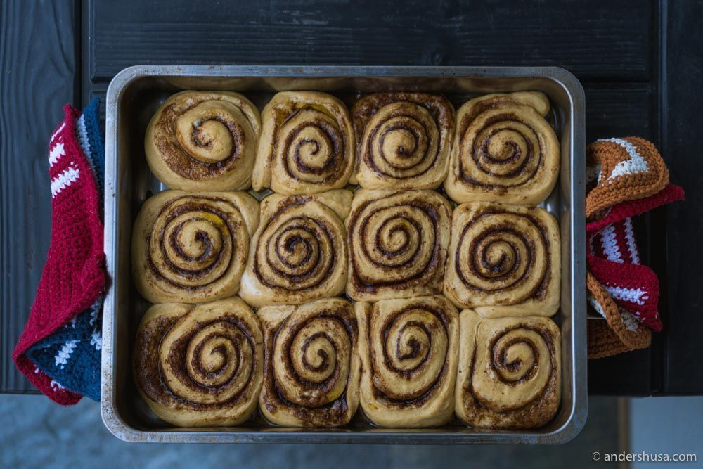 After proofing overnight, the doughy cinnamon rolls are ready for the oven!