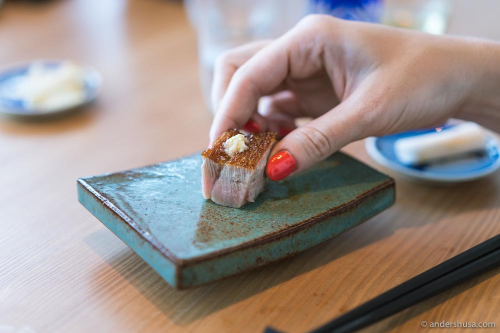 Grilled tuna belly with lemon, salt, and wasabi.