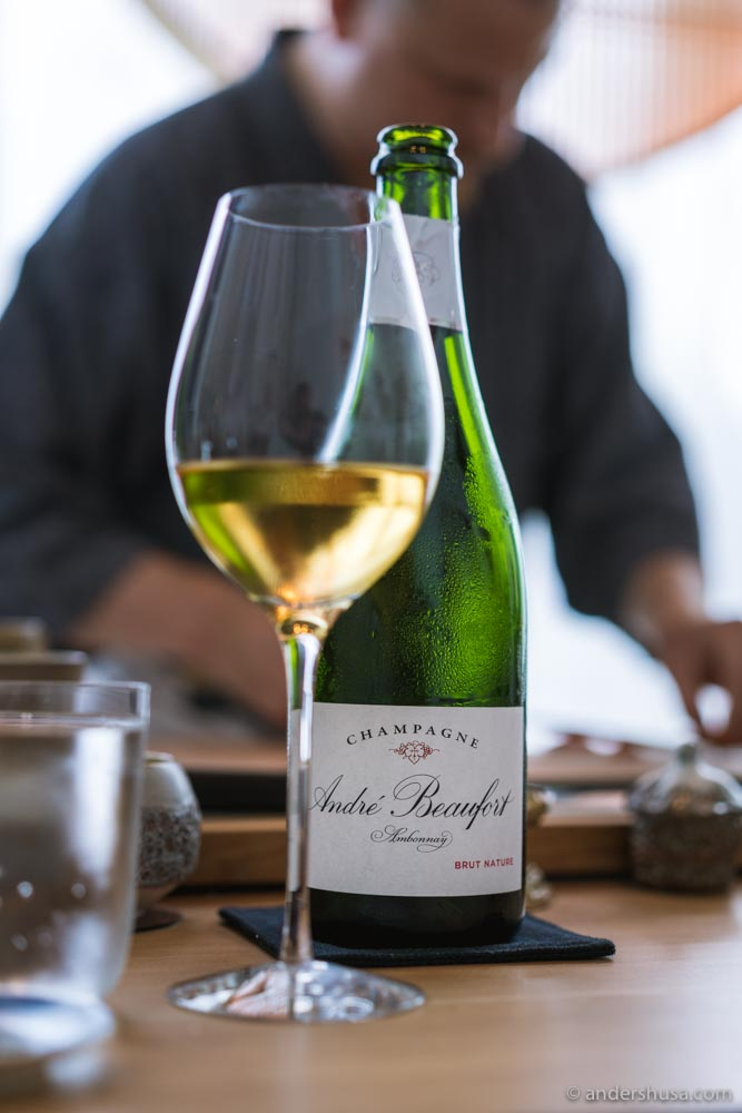 Starting our omakase with a glass of André Beaufort Ambonnay Brut Nature Champagne.