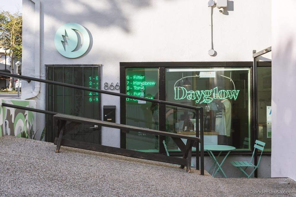 The eye-catching neon signs of Dayglow's West Hollywood location.
