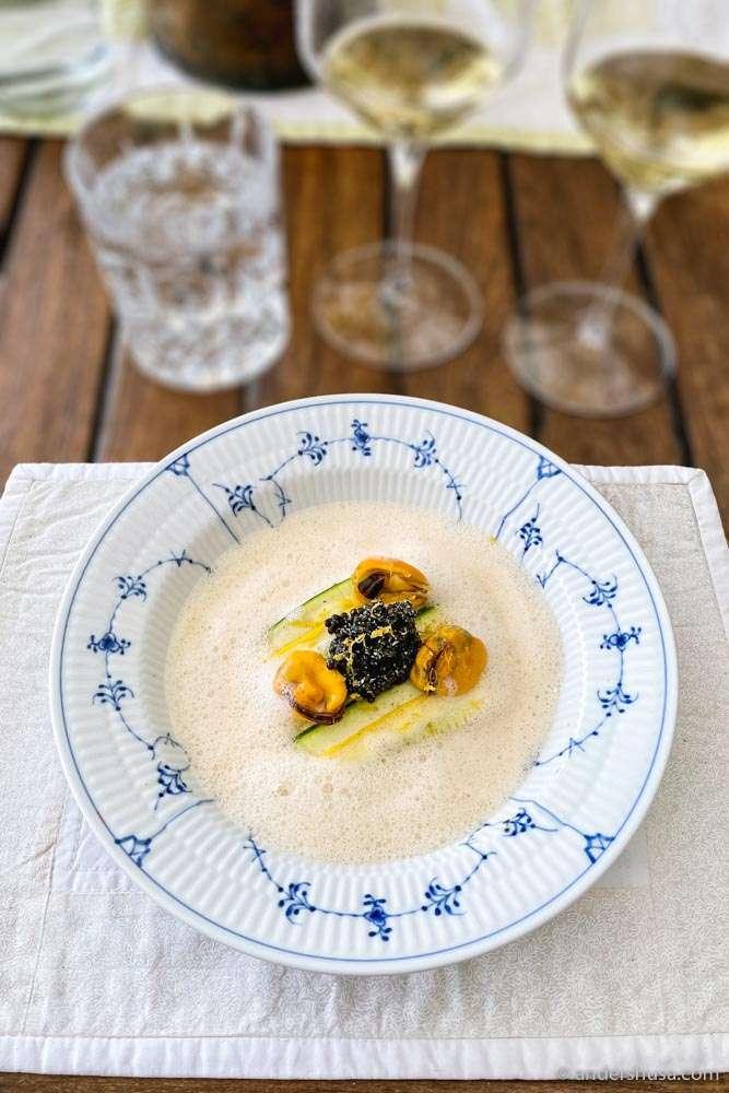 Brill, squash, mussels, mussel foam, caviar & lemon zest.