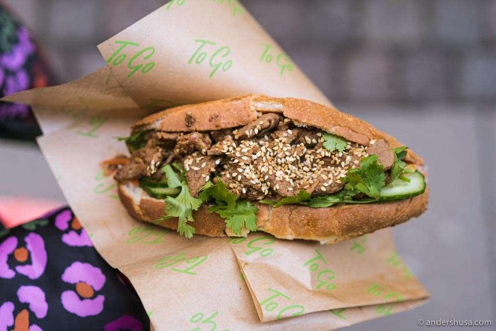 La Tre Street Kitchen's beef lemongrass bánh mì is the best we've ever had.