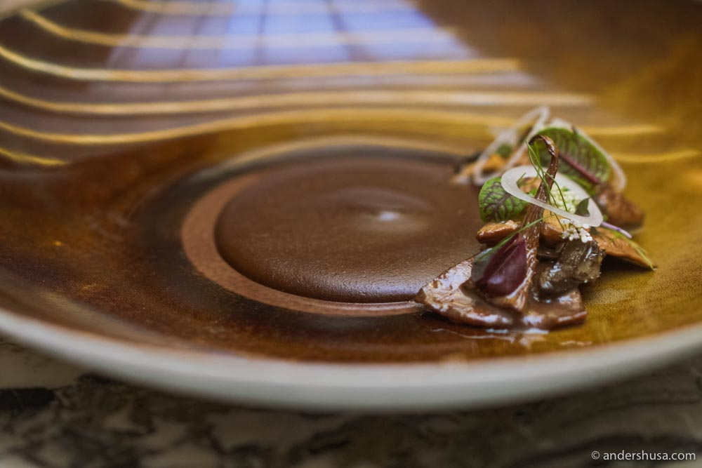 "Atocpan style mole, mushrooms, and emulsion of butter and ""pitiona."""